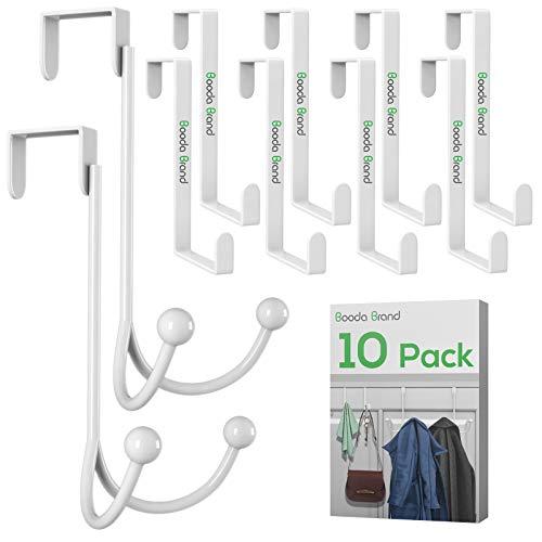 Over Door Hooks Sturdy Metal Over The Door Hooks for Hanging, Door Hangers Hooks Assortment for Door Hanging Robe, Hat, Coat, Towel (White-10Pack)
