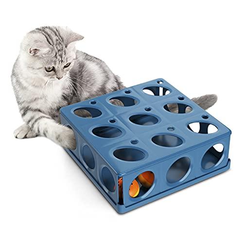 Huskl Interaktives Katzenspielzeug Intelligenz Box Fummelbrett mit 21 Löchern Intelligenzspielzeug Spielzeug für Katzen Spielsachen Beschäftigungsspielzeug Geschicklichkeitsspielzeug Blau