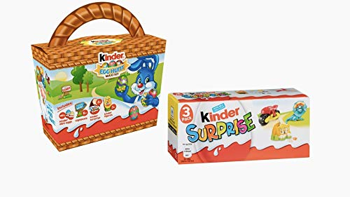 Kinder Easter Egg Hunt Maxi Kit e 3 Pack Kinder Surprise Uova di Pasqua – Uova di Pasqua con giocattoli a sorpresa