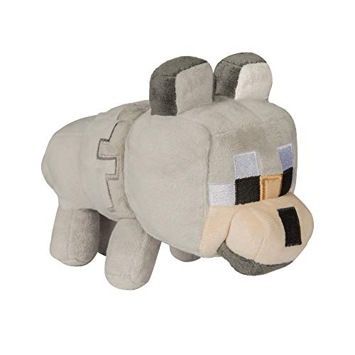 JINX Minecraft Happy Explorer Untamed Wolf Plush Stuffed Toy, Gray, 5.5' Tall