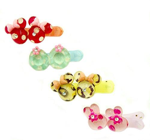 Hand® 2 Paare von Nr. 4 ziemlich Hairclip Haarspangen mit sortierten Pastell-Perlen, Blumen und Bogen Motive - 5 x 2 cm