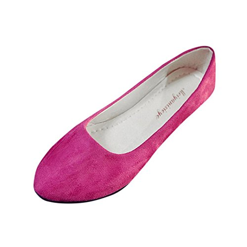 KESEELY Women's Casual Flats Toe Soft Solids Comfy Shoes Soft Slip-On Casual Boat Shoes Hot Pink