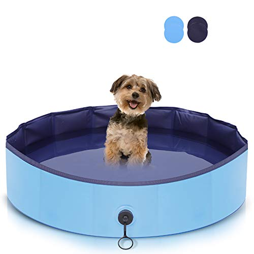 AIIYME Dog Swimming Pool,Foldable Kids Paddling Pool Pvc Non-Slip Garden Pool Outdoor Pet Pool Small Collapsible Swimming Pools,Safety Paddling Pools For Dogs, Cats And Kids(80x20cm)