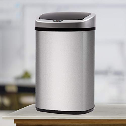 Kitchen Trash Can Stainless Steel Metal Garbage Can with Lid Automatic Touch Free Sensor Waste Bin...