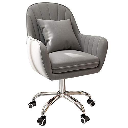 Schreibtischstuhl aus Samt, bequemer Drehstuhl, höhenverstellbarer Bürostuhl mit Armlehnen, 360° Drehstuhl für Computertisch, Schlafzimmer, Kommode – Grau