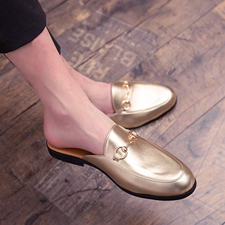 Shukun Men's flip flops Half Slippers Men'S Heel Personality Towed Scalp Sandals Male Peas shoes Beach Men'S Sandals