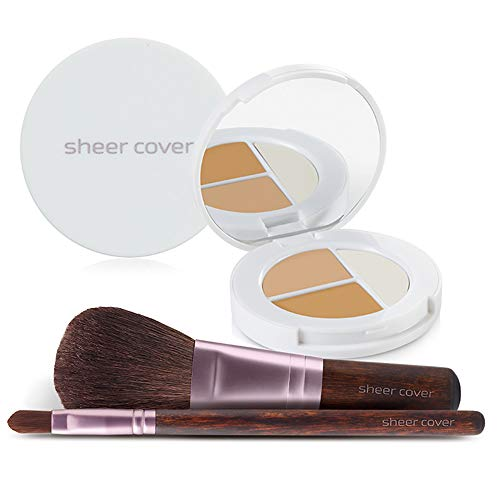 Sheer Cover  Flawless Face Kit  Perfect Shade Mineral Foundation  Conceal & Brighten Highlight Trio  with FREE Foundation Brush and Concealer Brush  Medium Shade  4 Pieces