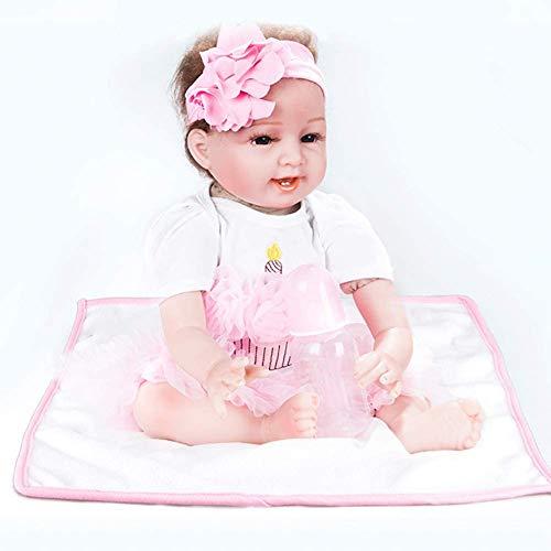 ZXYMUU Reborn Realista Sonriendo con La Niña De 22 Pulgadas Bebé De Silicona Flexible Adecuado para Niños Cumpleaños Edad