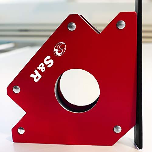 S&R Supporto Angolare Magnetico I Magnete per saldatura a squadra 45 °- 90 °-135 °, 125mm