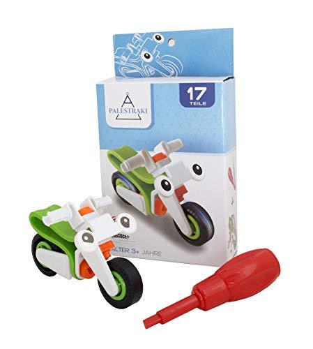 PALESTRAKI Fahrzeuge zum Schrauben für Kinder ab 3 Jahre - kleine Kinder - Motorrad - Helikopter - Plane (Motorrad) - Geschenke unter 5 Euro