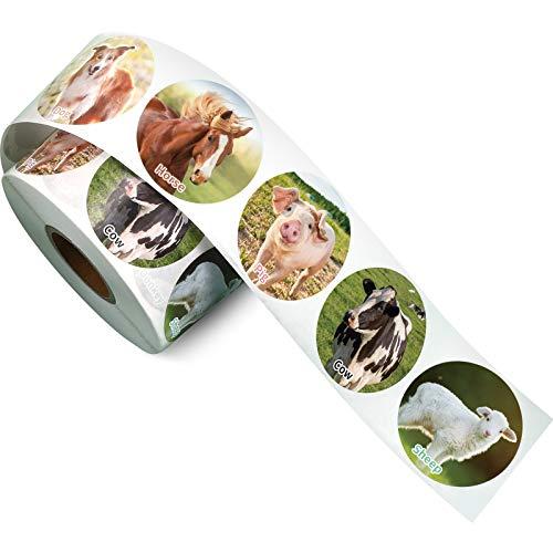 600 Pegatinas en Rollo de Animales de Granja Realistas, Calcomanías Etiquetas Adhesivas de Tema de Amigos de Corral Suministros de Enseñanza para Niños Aula Hogar Premio, 1,5 Pulgadas