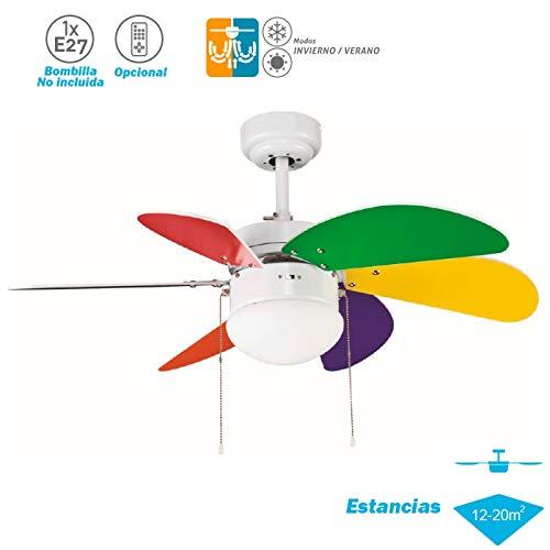 ELS Ventilador Techo Modelo Tabit Blanco - Multicolor Motor AC 6 Palas 1xE27