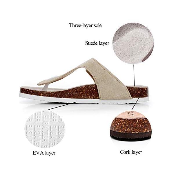 Women's Slide Sandal Arizona Cork Sandals Flat Strap Buckle Girl Leather Footbed Adjustable Casual Double Toe Shoes Summer Open Platform Suede Flip Slides