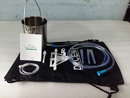 Stainless Steel Enema Bucket Kit - Non Toxic. One Quart Capacity. Reusable for Water and Coffee Colon Cleansing Detox Enemas. Includes Nozzle Tips, Storage Bag and Full Instructions