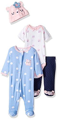 Gerber Baby 4 Piece Sleep 'n Play, Onesies, Footed Pant and Cap Set, bear, 0-3 Months