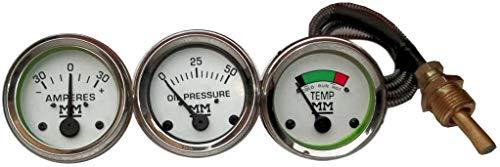 Minneapolis Moline Temp, Oil Pr, Ampère Jauge - G ,R ,U ,Z ,335,400,445, 500, 600 en lunette chromée