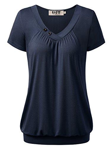 DJT Damen Basic V-Ausschnitt Kurzarm T-Shirt Falten Tops mit Knopf Dunkelblau L