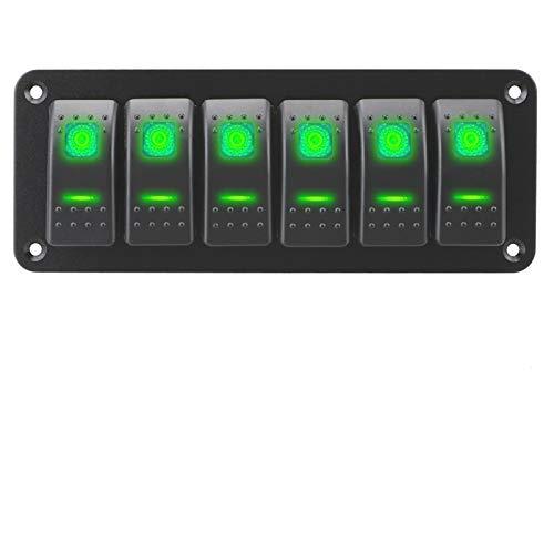 HGLNBN Interruptor basculante Interruptor de Encendido Panel/Off Rocker Impermeable Doble Interruptor de luz LED del Interruptor eléctrico Panel 12 / 24V (Color : Green)
