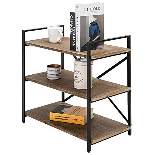 Rustic Short Small Bookcase Dark Brown Bookshelf 3 Tier Storage Rack Shelf for Office Bathroom Living Room