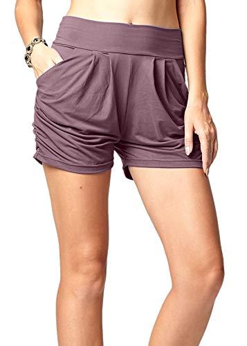 Premium Ultra Soft Harem High Waisted Shorts for Women with Pockets - Solid Vintage Violet - Small - Medium - NS01-Violet-SM
