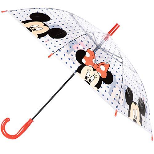 Offizielles Lizenzprodukt für Kinder, Automatikschirm, 75 cm, für Mädchen und Jungen. Paw Patrol, Disney Mickey Minnie Maus, Spiderman Charaktere Minnie & Mickey Mouse – Transparent 75 cm