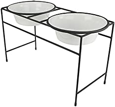 Platinum Pets Double Diner Feeder with Stainless Steel Dog Bowls, 6.25 cup/50 oz, Pearl White, Large