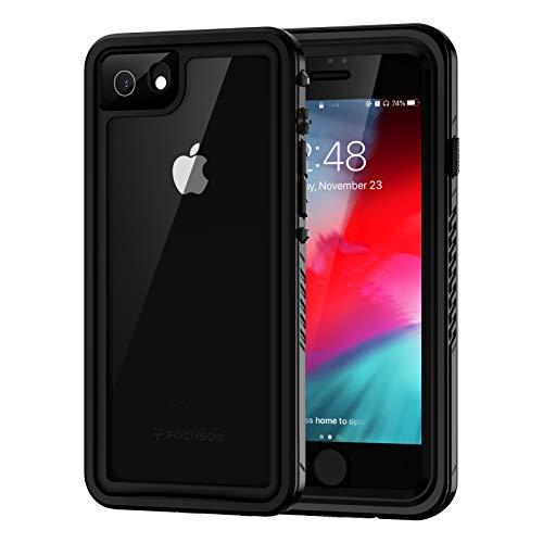 Focusor Funda para iPhone SE 2020, iPhone 7, iPhone 8, resistente al agua IP68, 360 grados, resistente a los golpes, resistente al polvo, para exteriores, color negro
