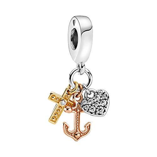 Bellestory Triple-Tone Cross, Heart & Anchor Dangle Charm 925 Sterling Silver Bead fit Women European Bracelet Necklace (Rose Gold & Crystal)