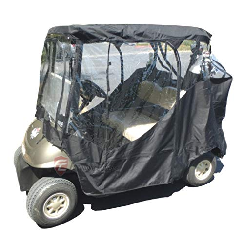 Black Golf Cart Driving Enclosure 2 Seater Heavy Duty, fits E Z GO, Club Car and Yamaha G Model - for Sun and Insect Protection