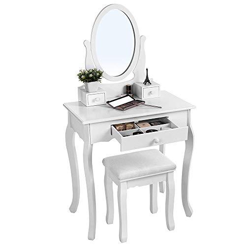 Table de Maquillage avec Miroir Maquillage Vanity Set de Table Coiffeuse (Couleur : Blanc, Taille : 70 * 40 * 129.5cm)