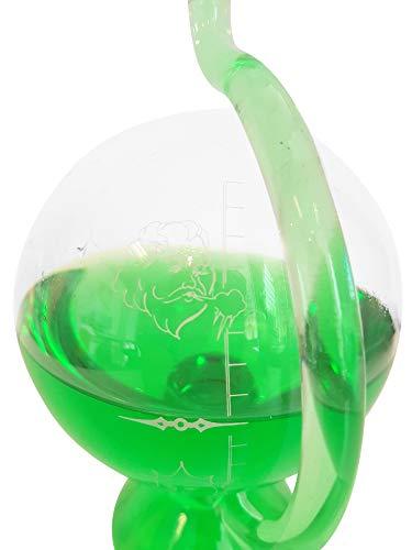 Barometer antiker Stil Wetterstation rund aus Glas zum stellen mit Wetterskala außen Messinstrument Goethe Barometer befüllt mit grünem destilliertem Wasser Größe ca. 11,5 x 20 cm Oberstdorfer Glashütte
