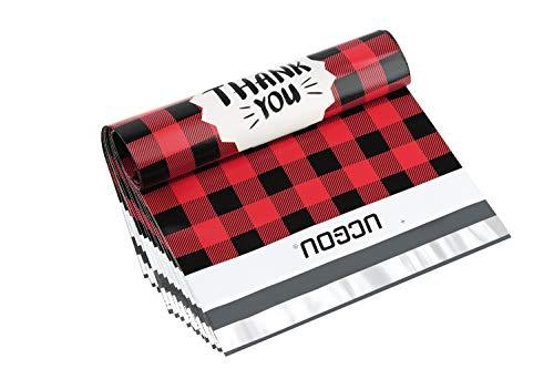 UCGOU 10X13 Inch Red Buffalo Plaid Poly Mailer Envelope Plastic Custom Mailing Shipping Bags 100pcs