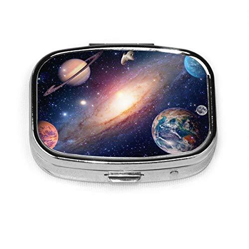 Marte Saturno Sistema Solar Planetas y galaxias Caja personalizada Pastillero/Pastillero/Pastillero cuadrado