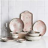 Platos de cena exquisito juego de vajilla de cerámica Sakura, juego de vajilla de cocina de 11 piezas, platos, cuencos, cucharas, servicio para 2, elegante juego de platos de cena, platos de ensalada