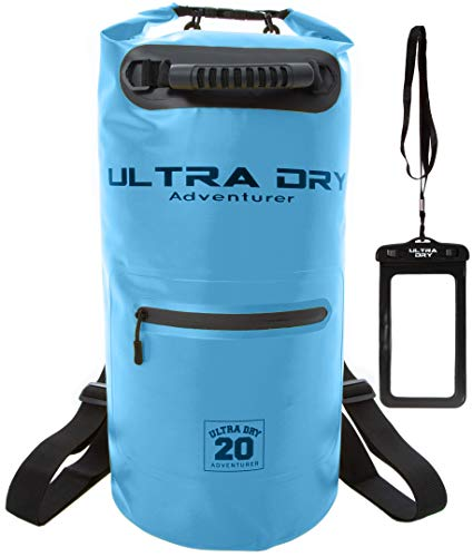 Ultra Dry Bag, Waterproof Bag, Sack with phone dry bag, Front Zip Pocket & long adjustable Shoulder Strap Included, Perfect for Kayaking/Boating/Canoeing/Camping/Rafting/Swimming (Light Blue 20 Litre)