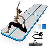 GOPLUS Air Track Tumbling Matte aufblasbare Gymnastikmatte Yogamatte Trainingsmatten Weichbodenmatte Turnmatte Fitnessmatte mit Pumpe tragbar Farbwahl 300x100x10cm (Grau + Blau)