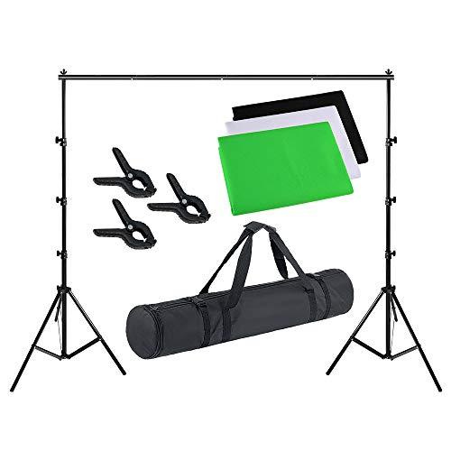 LARS360 Hintergrund Fotostudio Set Hintergrundsystem Fotostudio Set mit 2.6m x 3m Hintergrund Ständer und 3er Federzwingen 1.8 x 2.8m 3 Farben Grün Schwarz Weiß Hintergrund Set für Fotografie Portrait