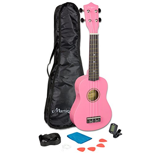 Martin Smith 21 Inch Soprano Ukulele Starter Kit - Pink, With Tuner, Bag, Plecs, Strap and 2 Months of Lessons