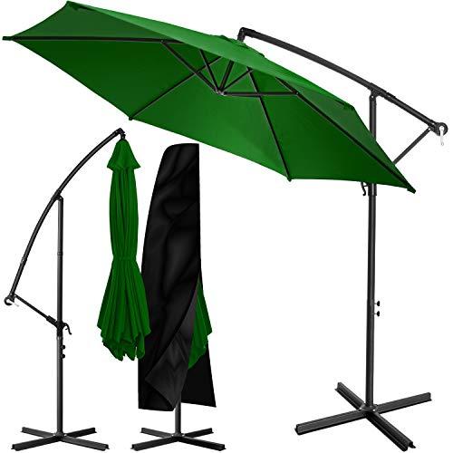 KESSER® Alu Ampelschirm Sonnenschirm Ø 350 cm mit Kurbelvorrichtung UV-Schutz Aluminium Wasserabweisende Bespannung - Schirm Gartenschirm Marktschirm Grün