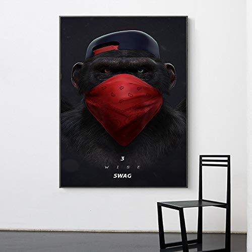 WSNDGWS Quadro Dipinto su Tela Quadri murali Animali Scimpanz Soggiorno Cuffie Decorazione per la casa Pittura animale30x50cm