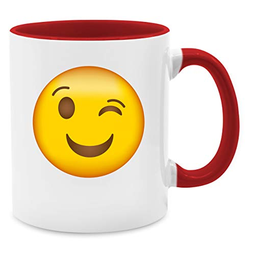 Shirtracer Statement Tasse - Zwinker Emoticon - Unisize - Rot - gelbe Tasse - Q9061 - Tasse für Kaffee oder Tee
