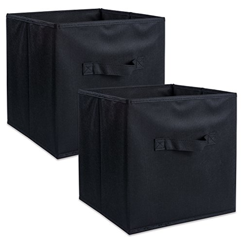 DII Foldable Fabric Storage Containers for Nurseries, Offices, Closets, Home Décor, Cube Organizers & Everyday Use, 11 x 11 x 11 Black-Set of 2, Small (2)