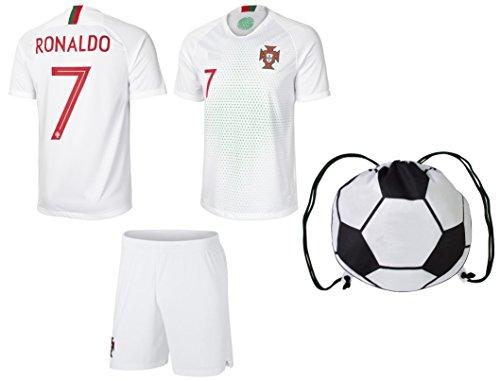 prtfc Portugal Auswärtstrikot für Kinder #7 Fußballtrikot und Shorts, alle Jugendgrößen, Schwarz , Kids Large 10-13 Years of age