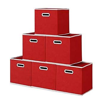 11  Fabric Storage Bin  Pack of 6   Red