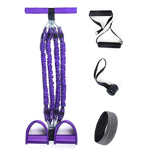 KingFit PV2 Unisex Multi Function Tension Rope Pedal Resistance Band Purple