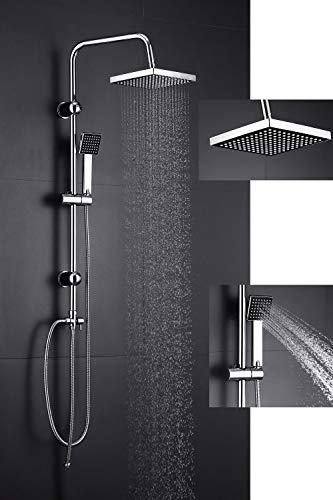 Duschsystem Regendusche mit Edelstahl Kopfbrause Duschgarnitur Duschsäule Duschset Duscharmatur mit Messing Handbrause, Komplett Hochglanz verchromt, Höhenverstellbarer Handbrausehalter