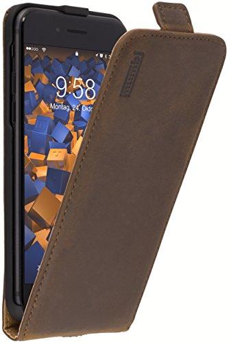 mumbi Echt Leder Flip Hülle kompatibel mit iPhone SE 2 2020 / 7 / 8 Hülle Leder Tasche Hülle Wallet, braun