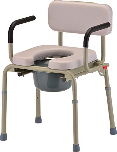 NOVA Medical Products Drop Arm Commode with Padded Seat and Back, Drop Down Arms for Easy Transfer, Stand Alone Bed Side Commode and Over The Toilet Commode, Comes with Bucket, Lid and Slash Guard -  NOVA - Ortho-Med, Incorporated, 8901W