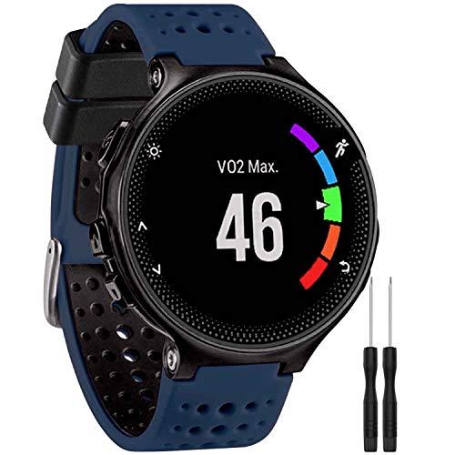 GVangel Armband kompatibel mit Garmin Forerunner 235, weiches Silikon Ersatz-Uhrenarmband für 220/230/235/620/630/735XT/235 Lite Smart Watch für Damen und Herren, Marineblau/Schwarz