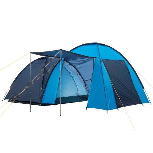 CampFeuer - Kuppelzelt mit großem Vorbau (4 Personen), Wassersäule: 3000 mm, Farbe: Blau/Hell-Blau
